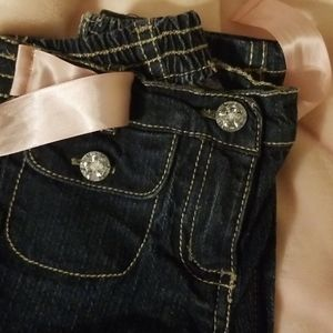 Baby Girl Ballet Pink Satin Ribbon & Bling Jeans